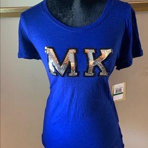 Michael Kors Blue Sequin Logo Patch Tee. NWT